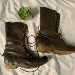 Betsey Johnson brown ruffle boots